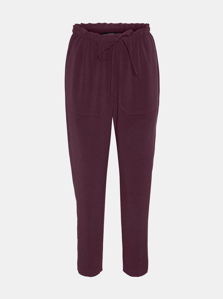 Vínové zkrácené kalhoty VERO MODA