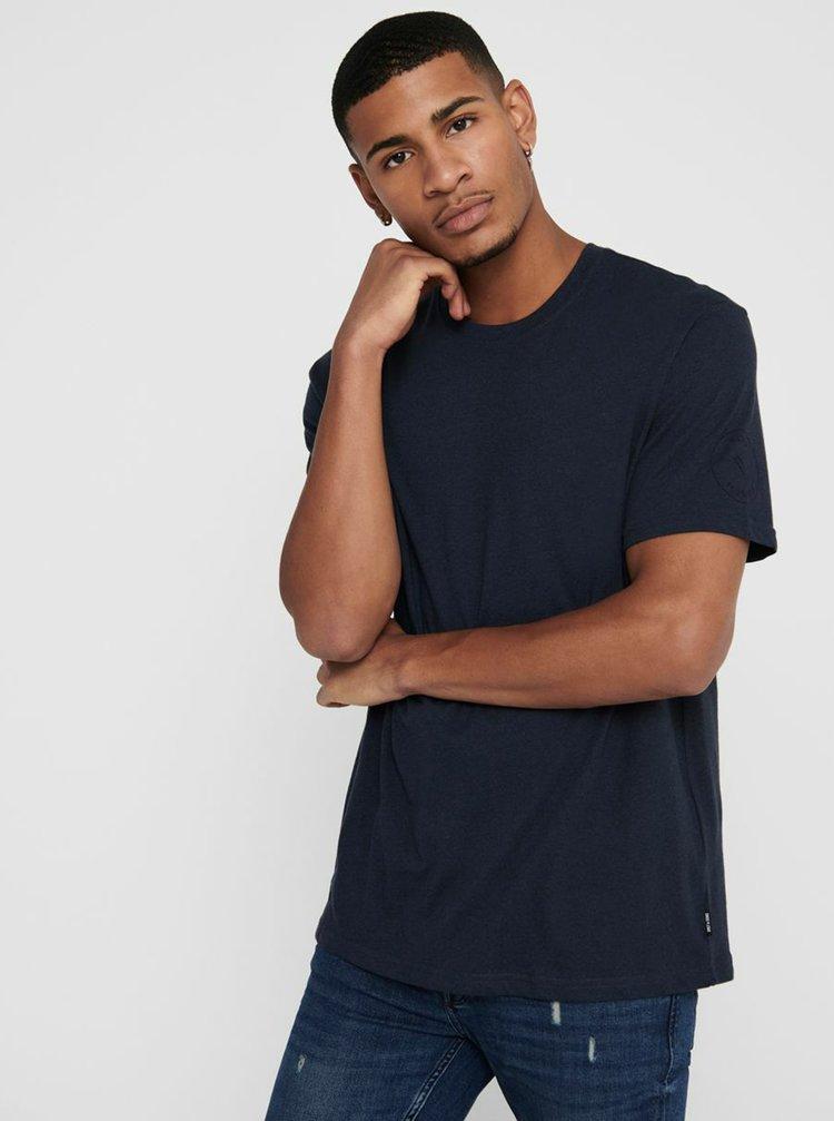 Modré basic tričko ONLY & SONS Dion