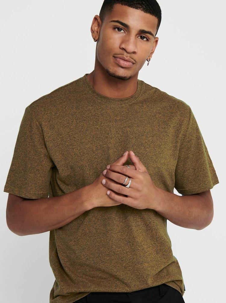 Hnědé basic tričko ONLY & SONS Dion