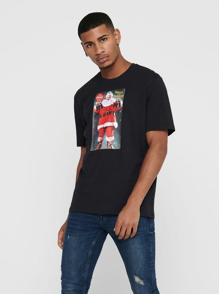 Tmavě modré tričko s vánočním motivem ONLY & SONS Coca Cola