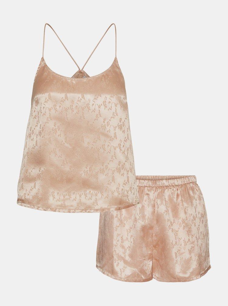 Růžové saténové pyžamo VERO MODA
