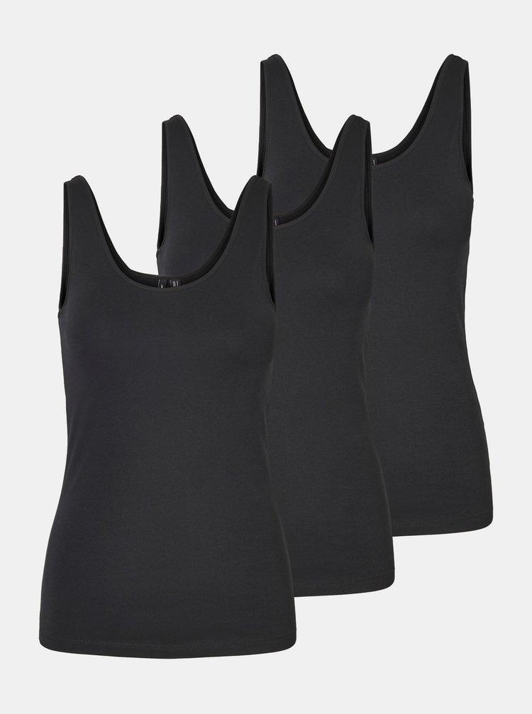 Sada tří černých basic tílek VERO MODA