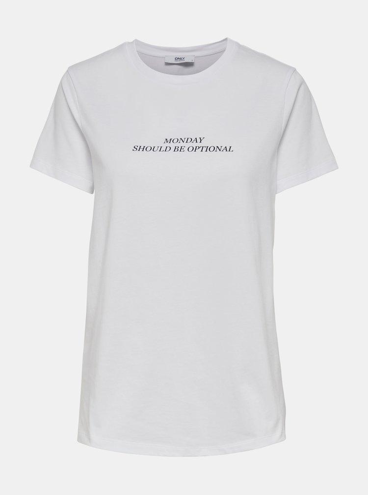 Bílé  tričko s potiskem ONLY Gabriella