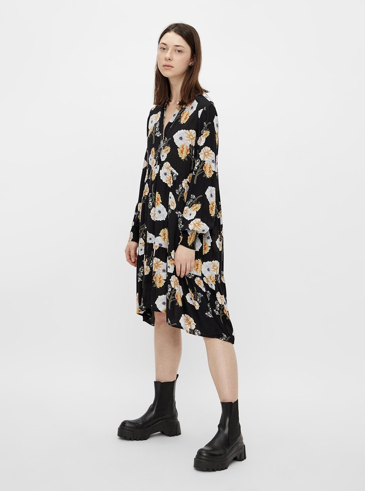 Čierne kvetované šaty Pieces