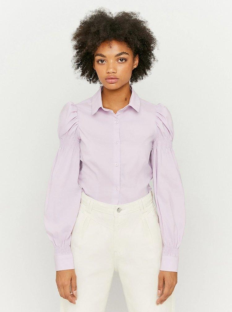 Světle fialová košile s nařasenými rukávy TALLY WEiJL