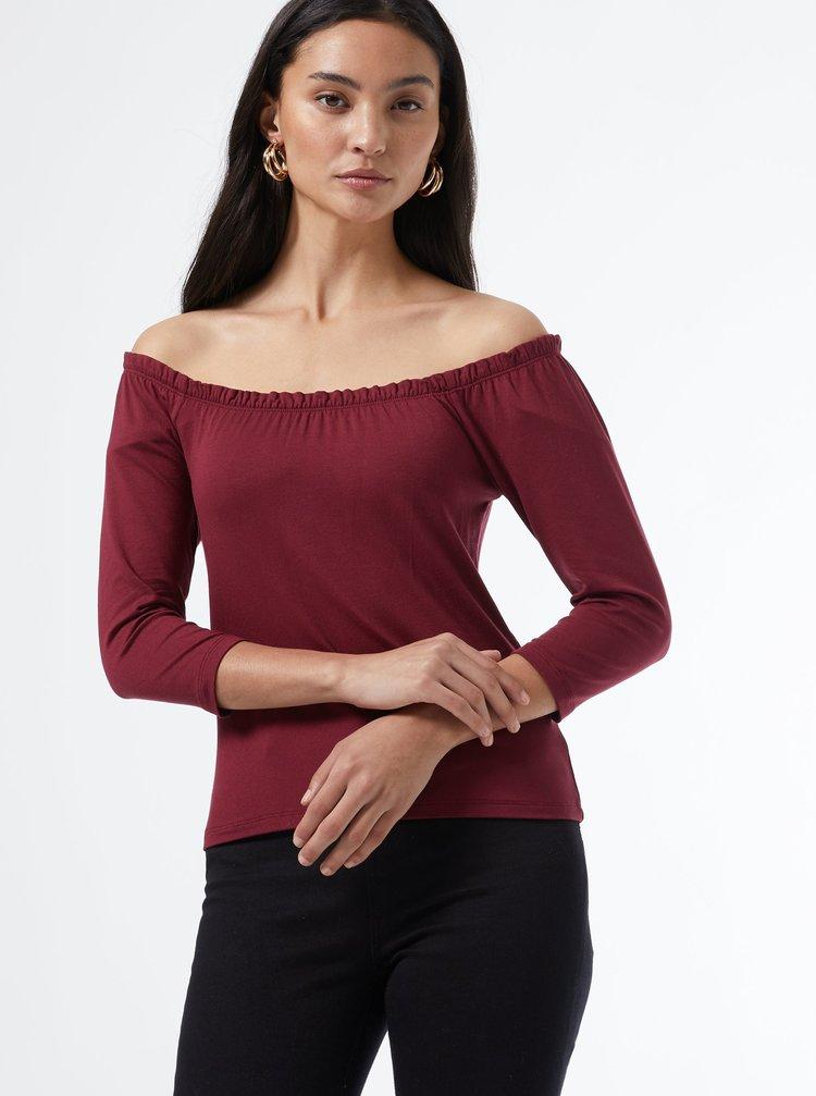 Sada dvou triček v černé a vínové barvě s odhalenými rameny Dorothy Perkins Petite