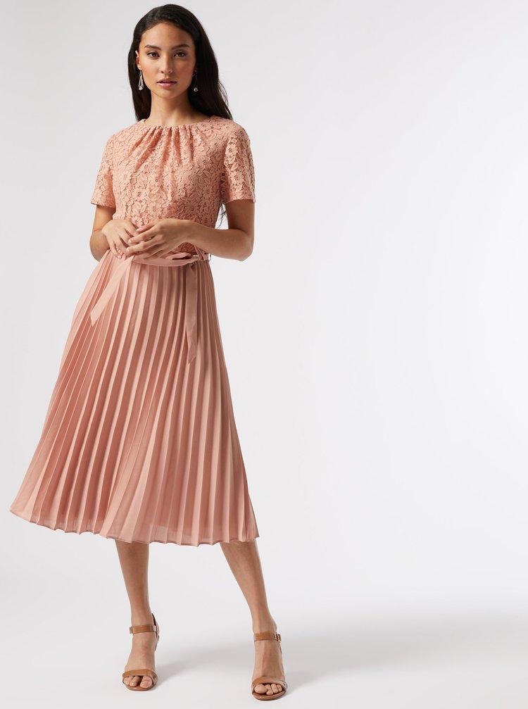 Růžové plisované šaty Dorothy Perkins Petite