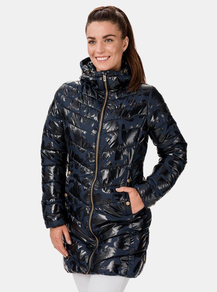 Modrý dámský prošívaný vzorovaný kabát SAM 73