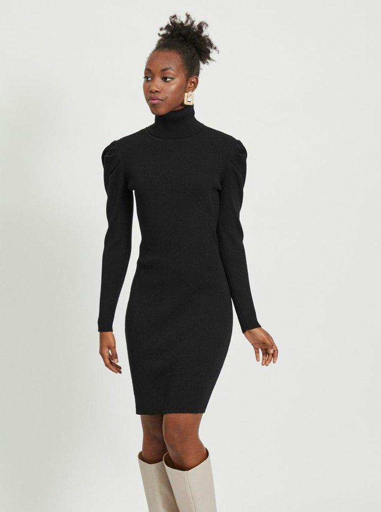 Čierne púzdrové svetrové šaty s rolákom VILA