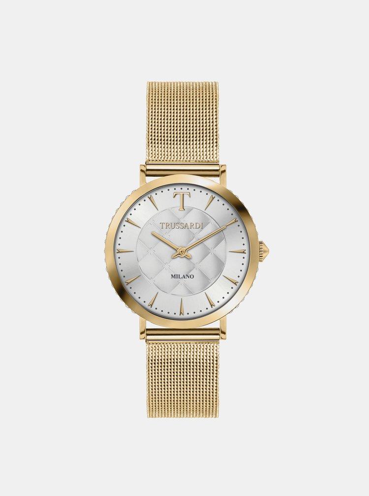 Dámské hodinky s ocelovým páskem ve zlaté barvě Trussardi