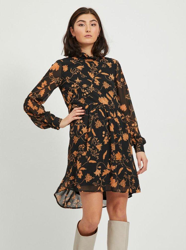 Čierne kvetované šaty VILA