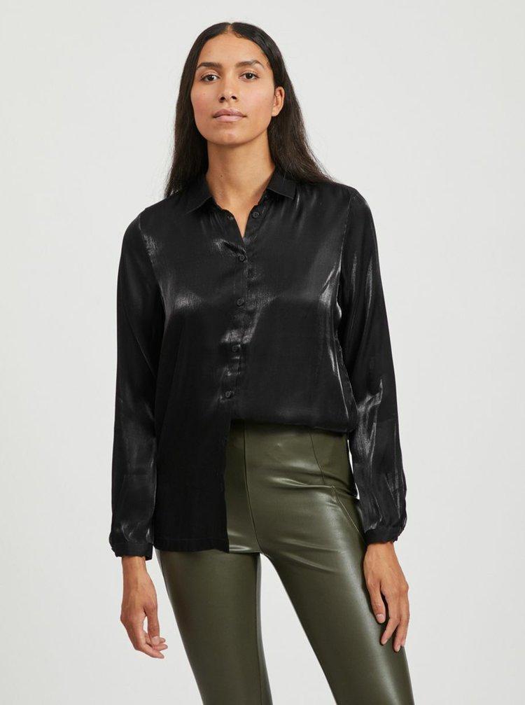 Čierna lesklá košeľa VILA