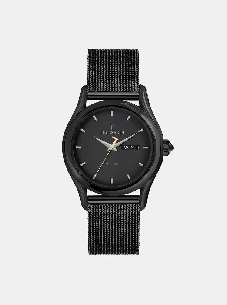 Pánske hodinky s oceľovým remienkom v čiernej farbe Trussardi