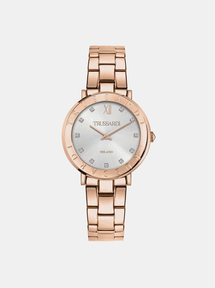 Dámské hodinky s ocelovým páskem v růžovozlaté barvě Trussardi
