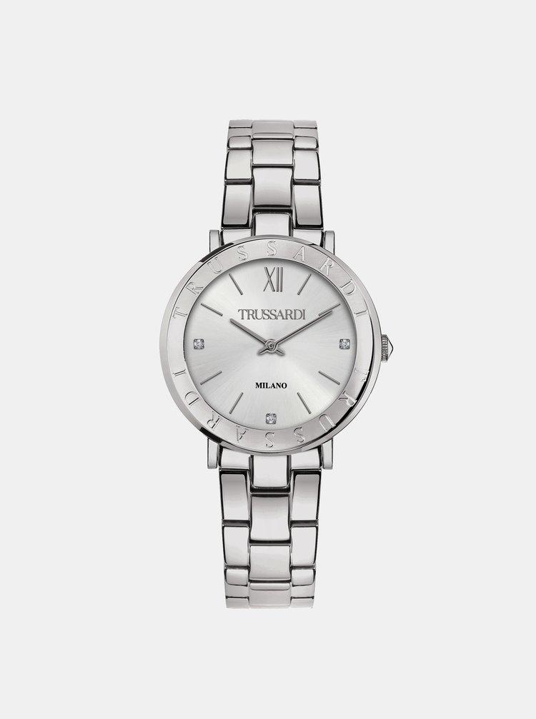 Dámské hodinky s ocelovým páskem ve stříbrné barvě Trussardi