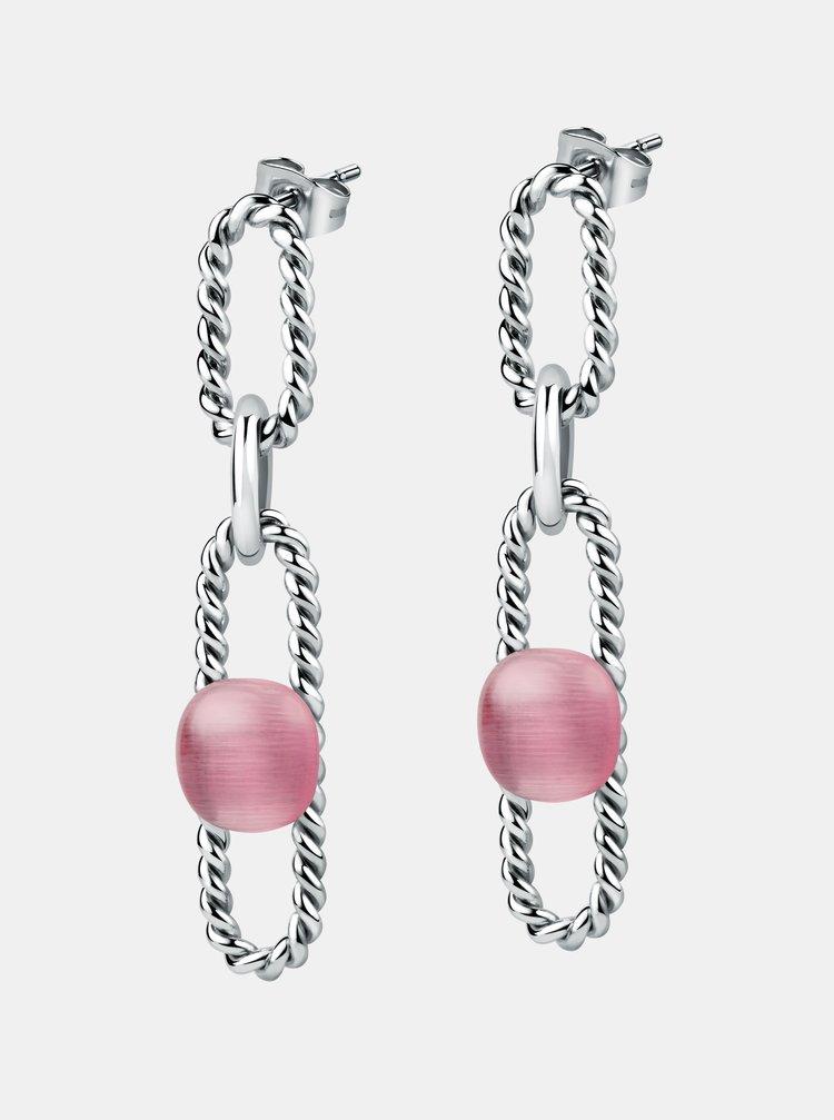 Náušnice ve stříbrné barvě s růžovým kamenem Morellato