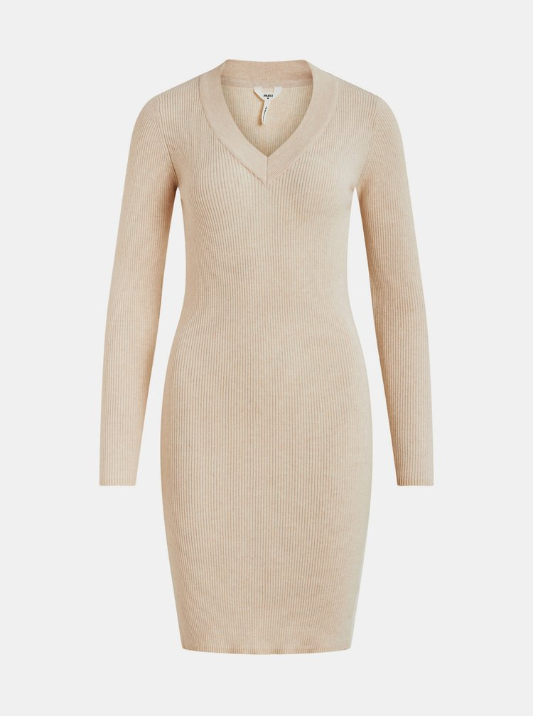 Béžové púzdrové svetrové šaty .OBJECT