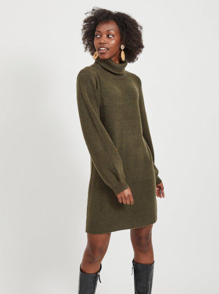 Khaki svetrové šaty s rolákem .OBJECT