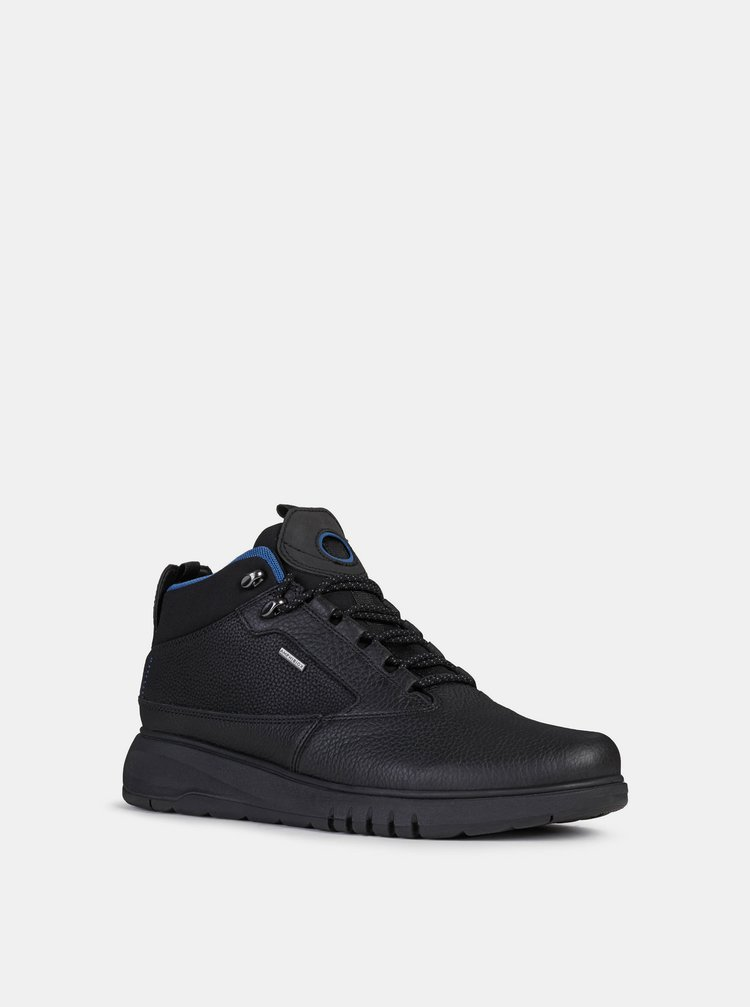 Čierne pánske kožené zimné topánky Geox