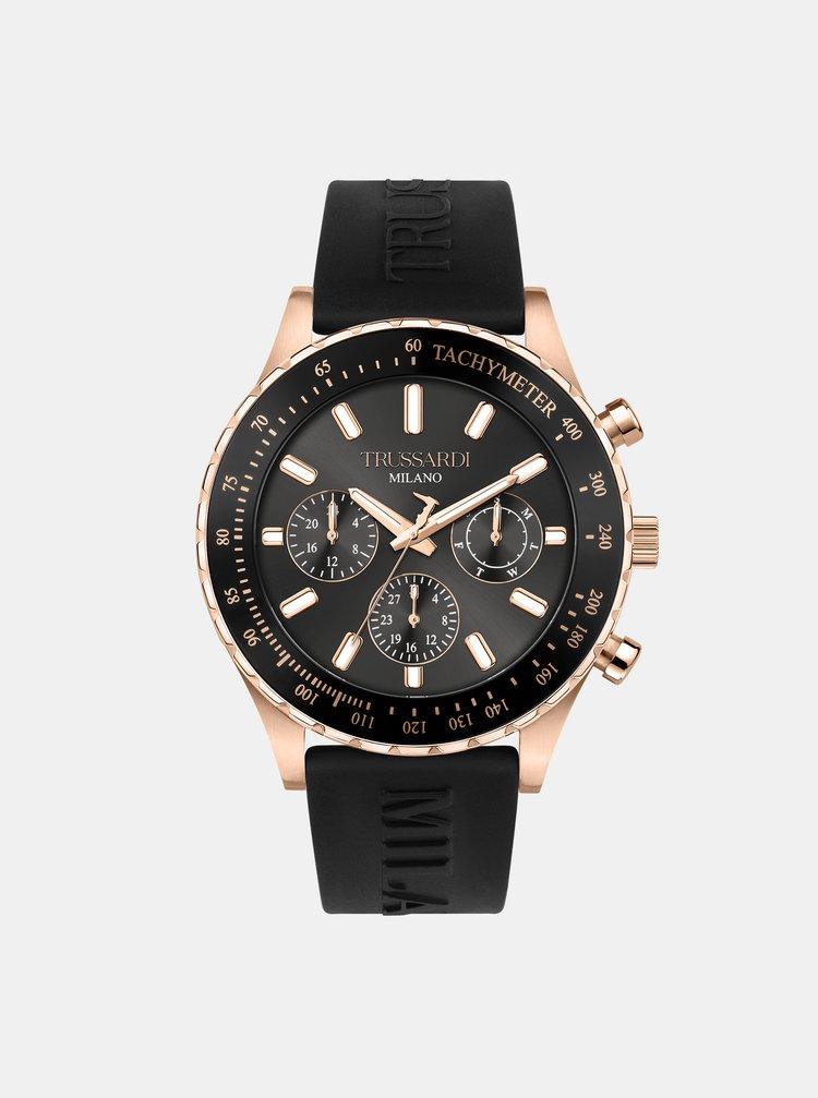 Pánske čierne hodinky so silikónovým remienkom Trussardi