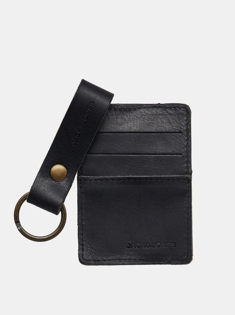 Sada koženej peňaženky a kľúčenky v čiernej farbe Jack & Jones