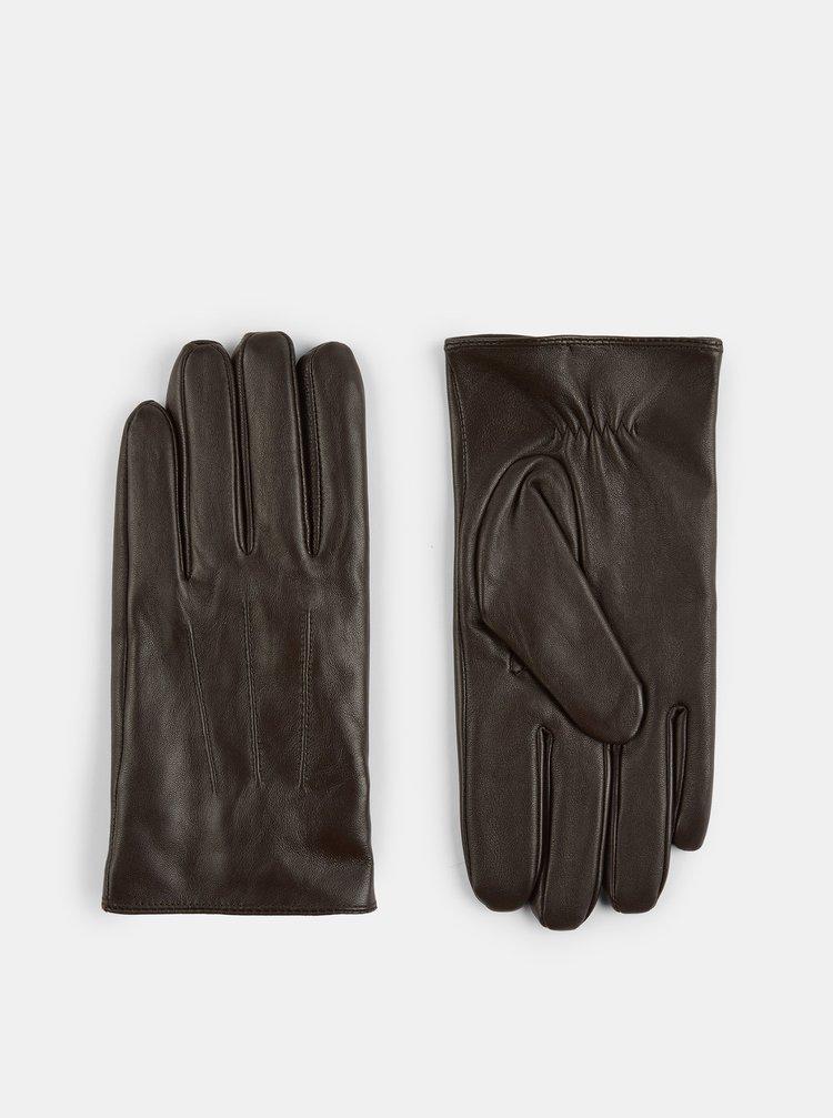 Hnědé kožené rukavice Burton Menswear London