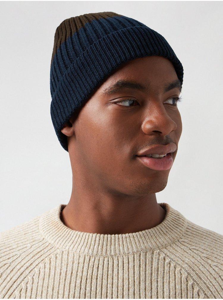 Hnědo-modrá čepice Burton Menswear London