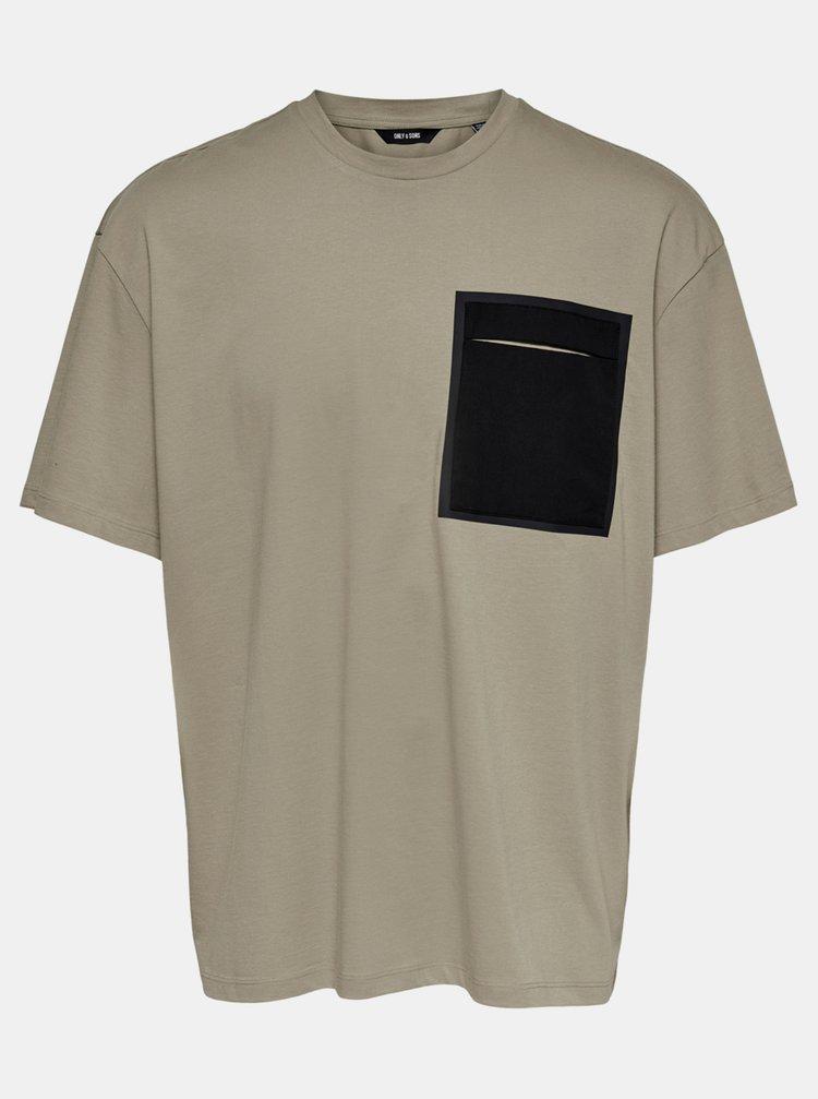 Béžové volné tričko ONLY & SONS