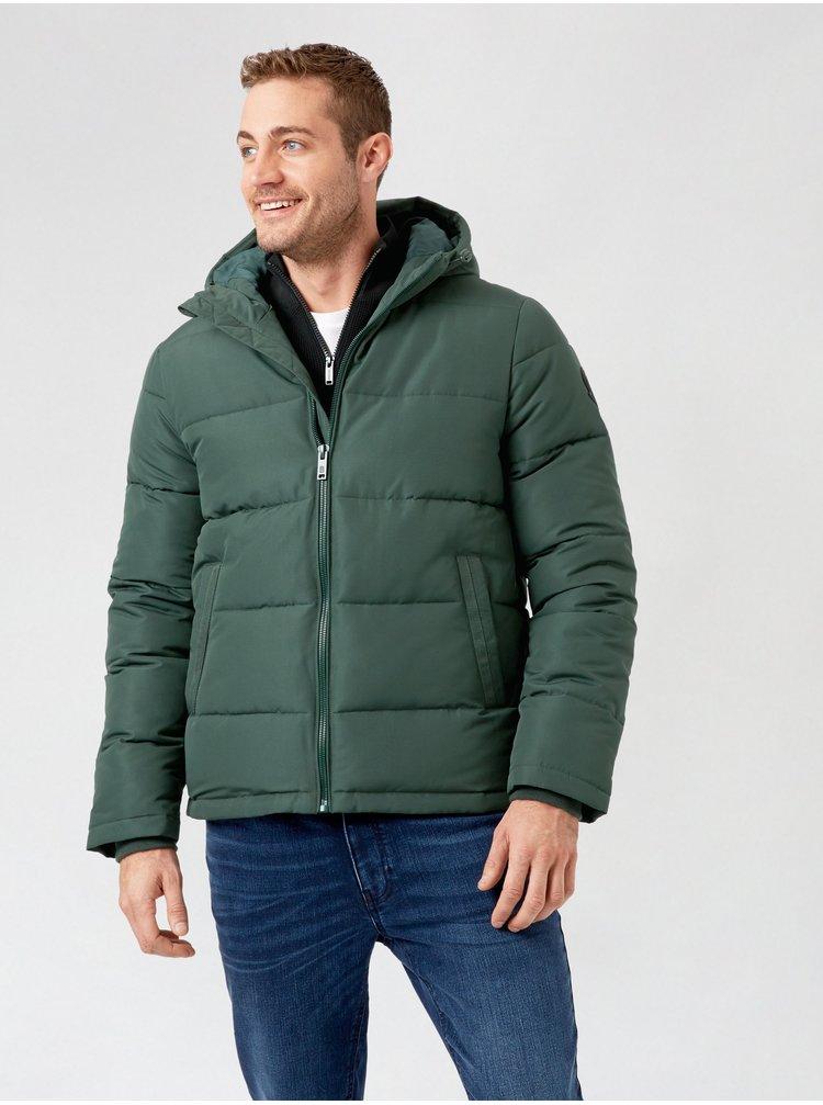 Zelená zimná prešívaná bunda Burton Menswear London
