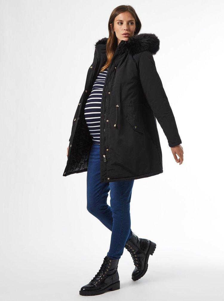 Čierna tehotenská zimná parka Dorothy Perkins Maternity