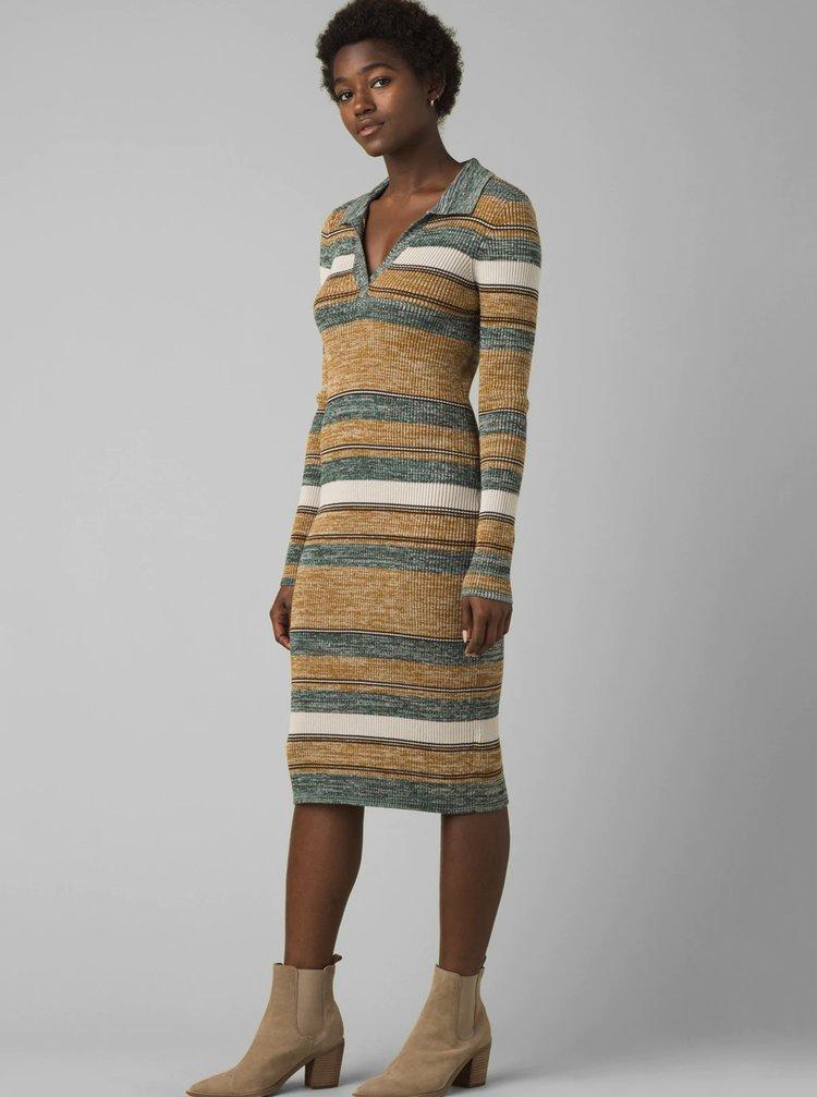 Hnědo-šedé pruhované svetrové šaty prAna