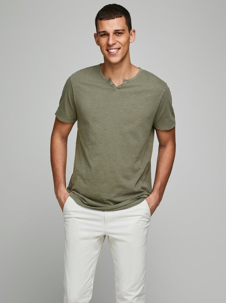 Khaki tričko Jack & Jones