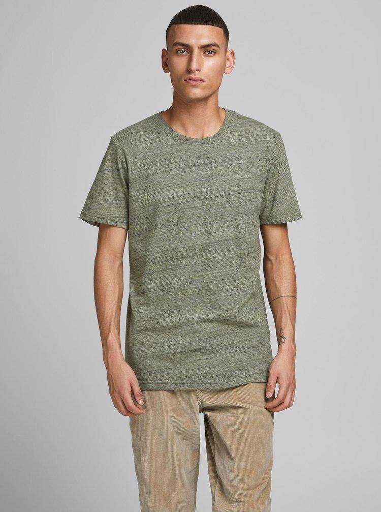 Khaki žíhané tričko Jack & Jones