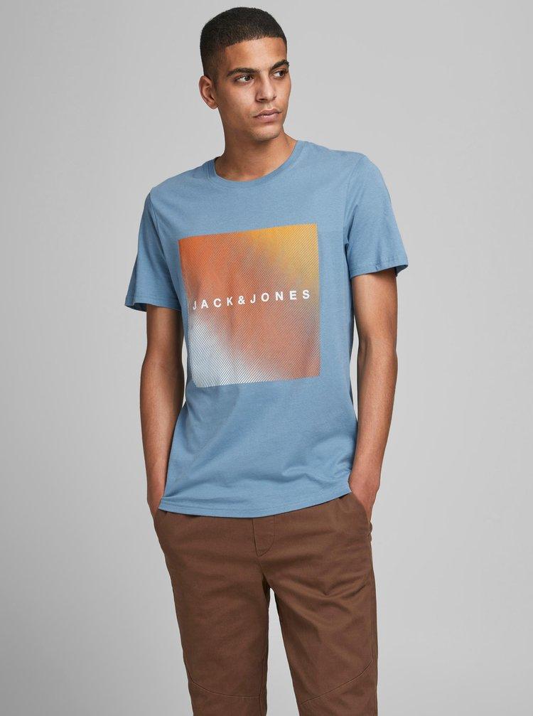 Modré tričko s potiskem Jack & Jones