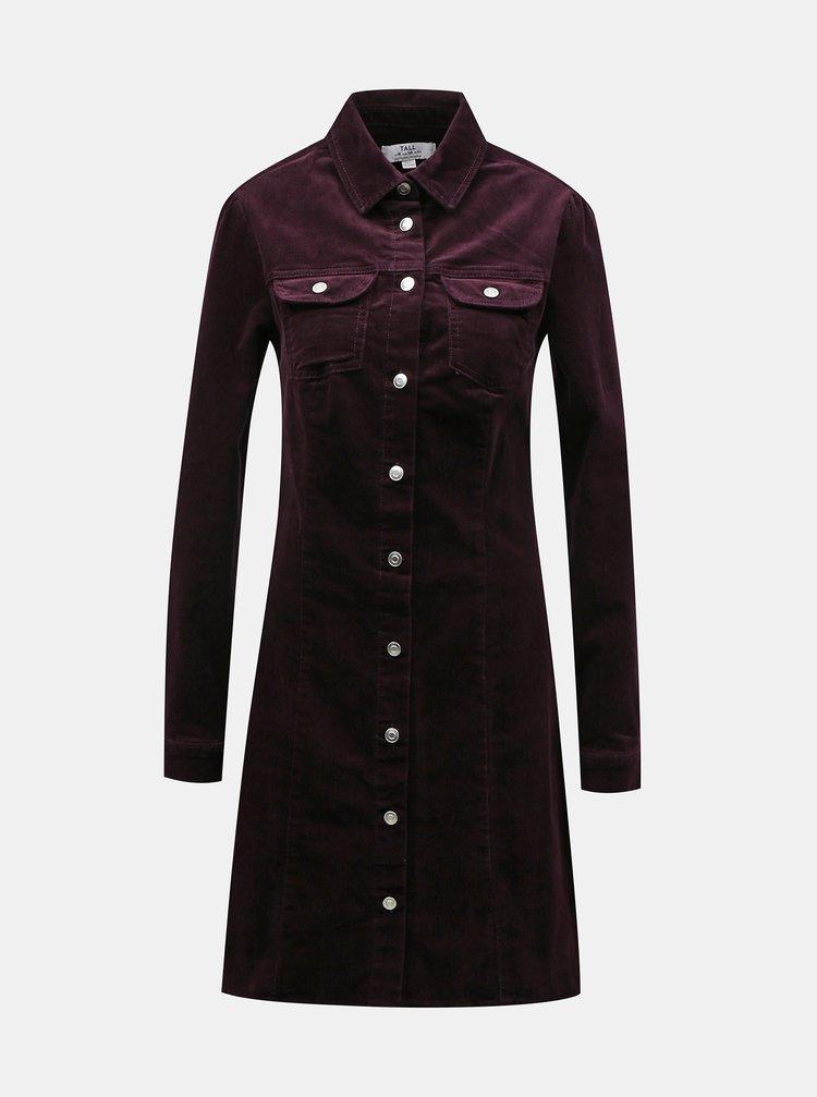 Vínové menčestrové košeľové šaty Dorothy Perkins Tall