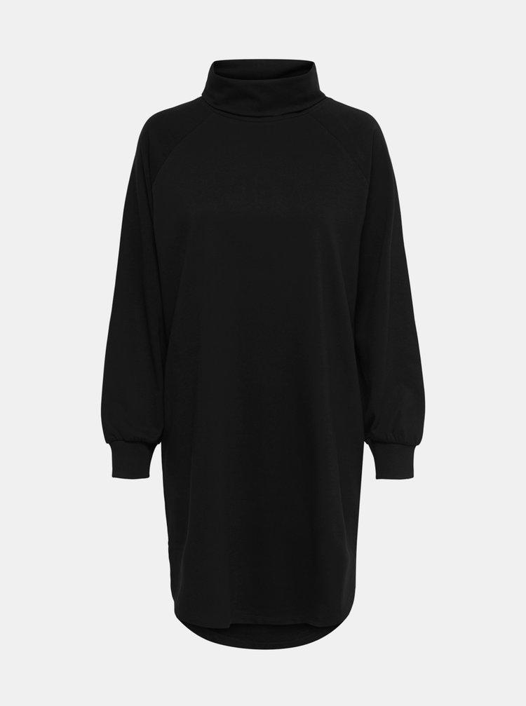 Černé mikinové šaty s rolákem Jacqueline de Yong