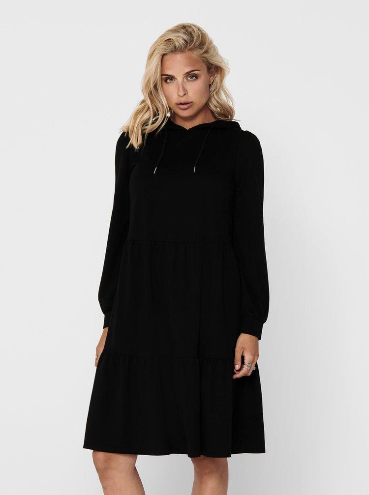 Černé mikinové šaty s kapucí Jacqueline de Yong