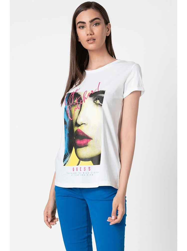 Guess biele tričko Logo Frontale Glitter s potlačou