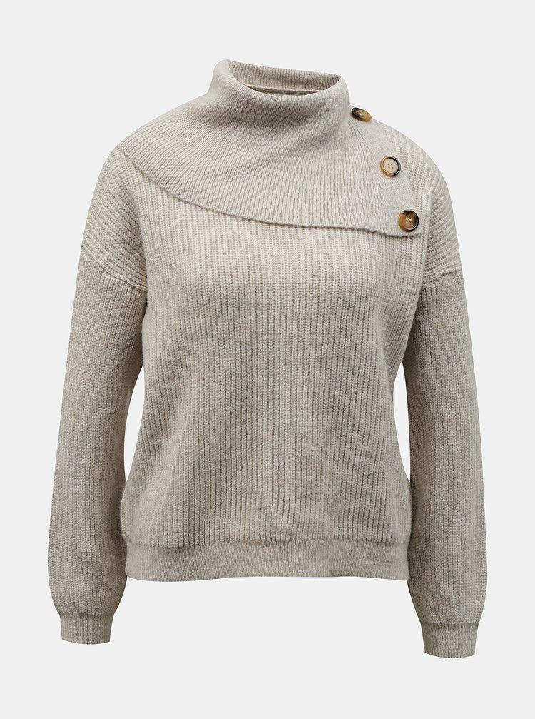 Krémový sveter s stojáčikom ONLY