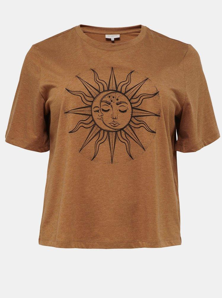 Hnědé tričko s potiskem ONLY CARMAKOMA Luni