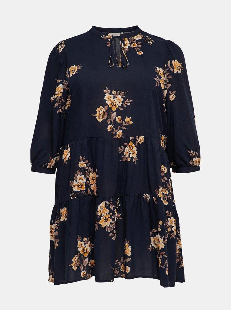 Tmavě modré květované šaty ONLY CARMAKOMA New