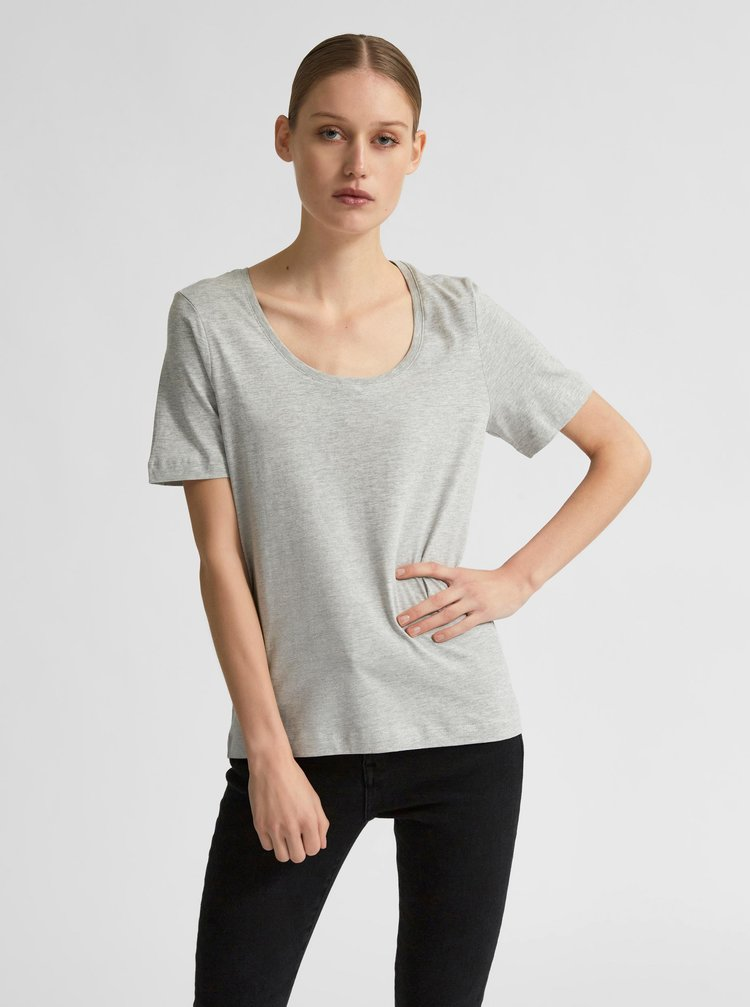 Šedé tričko Selected Femme Standard