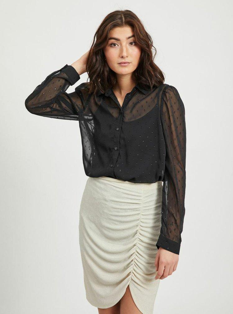 Černá vzorovaná průsvitná košile VILA