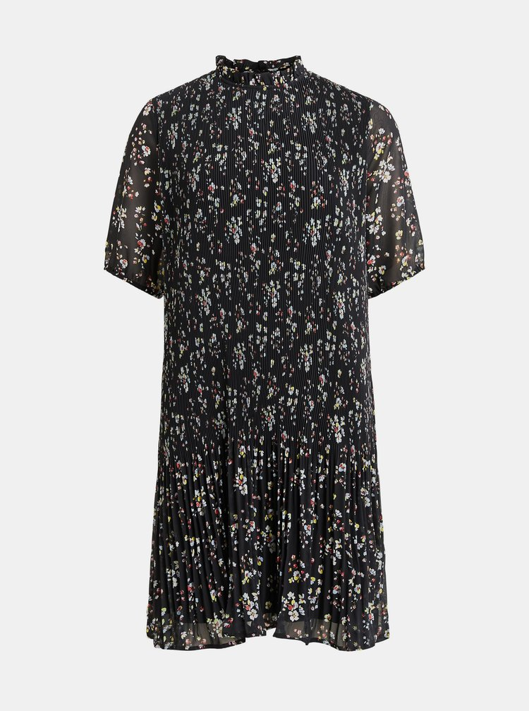 Černé květované plisované šaty VILA
