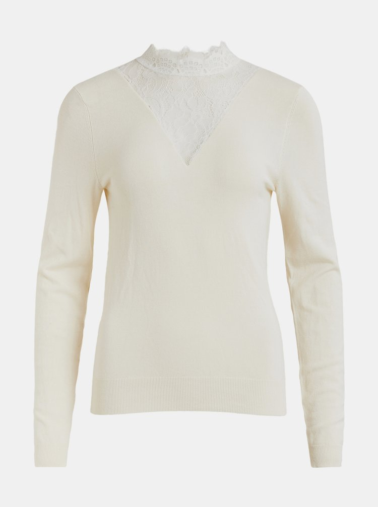 Krémový sveter s krajkou VILA