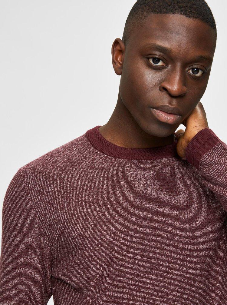Vínový  žíhaný sveter Selected Homme