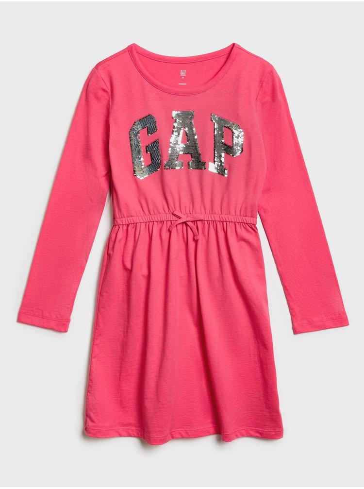 Červené dievčenské šaty GAP Logo