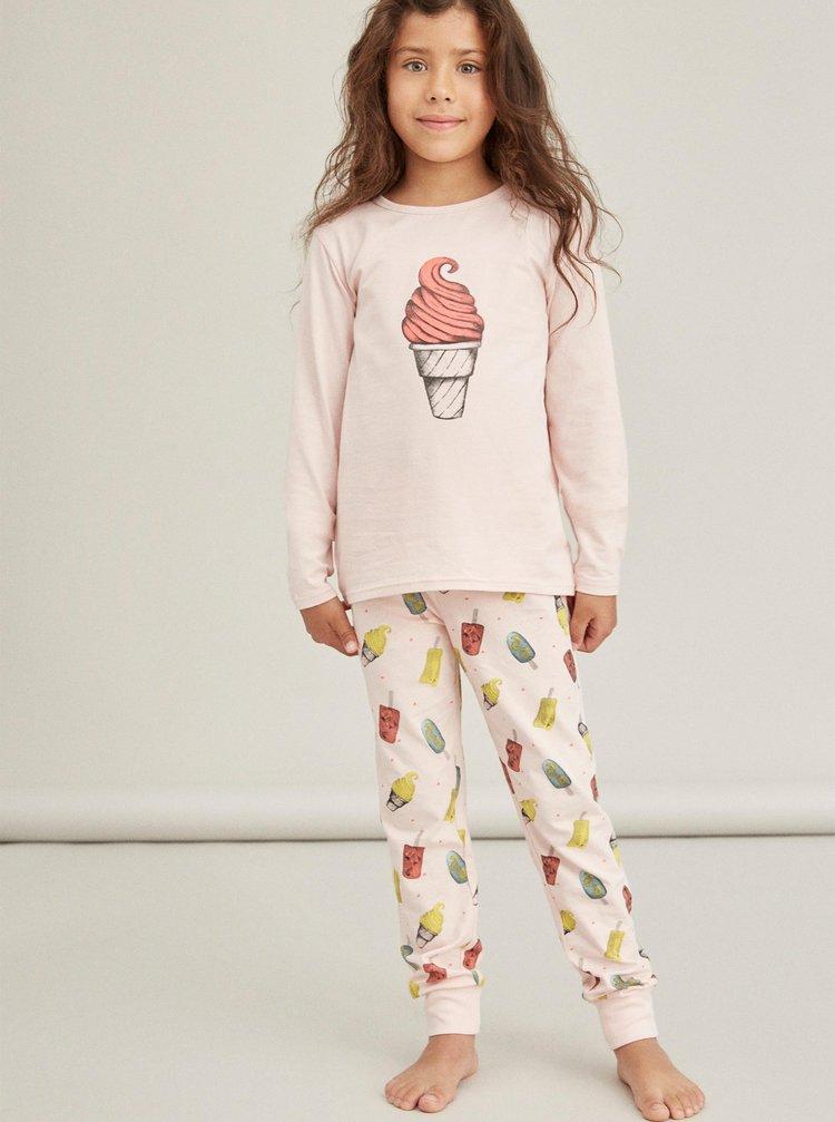 Ružové dievčenské vzorované pyžamo name it