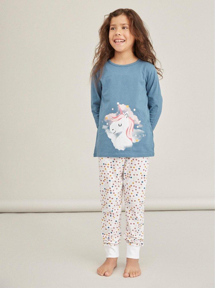 Modré dievčenské vzorované pyžamo name it