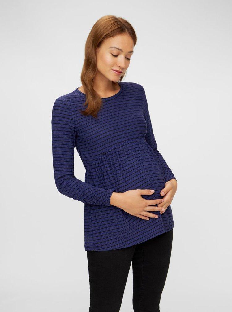 Modré pruhované těhotenské tričko Mama.licious